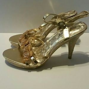 Gold and Rhinestone Embellished Strappy Heel